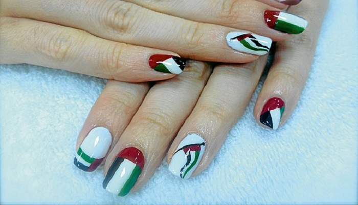 Uae Flag Nail Art